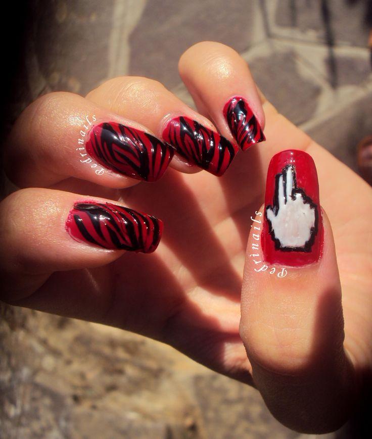 Zebrato su base rossa + accent manicure dedicata a Mouse Music by Two Fingerz
