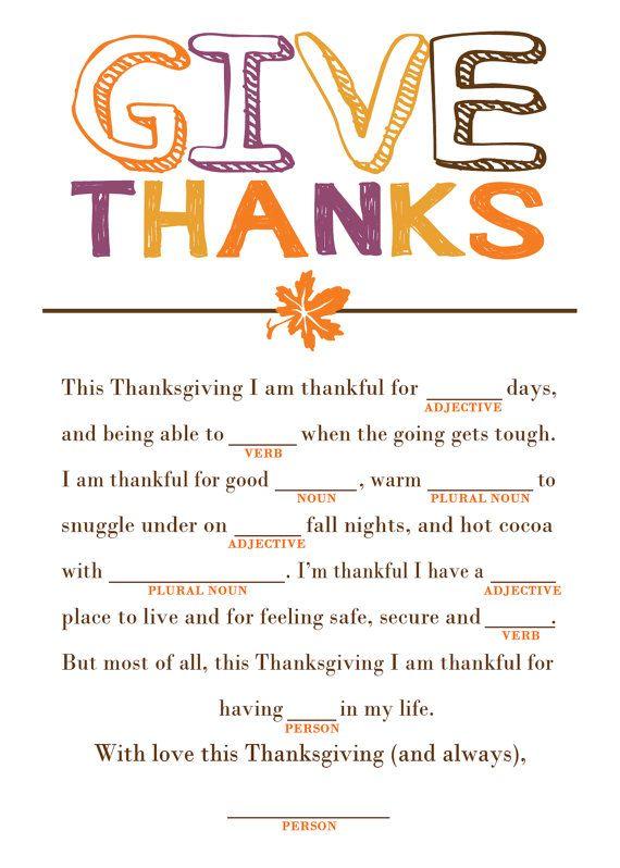 Thanksgiving Mad Libs!!!!!!!! Love it!!!!!!!!!