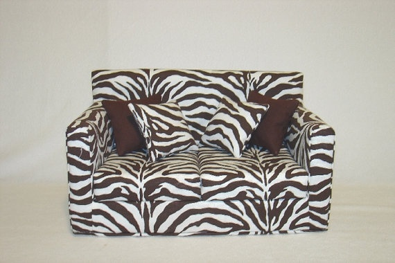 Doll Sofa Zebra Print Dark Brown Modern Handmade 18 Inch American Girl Doll Furniture Girl