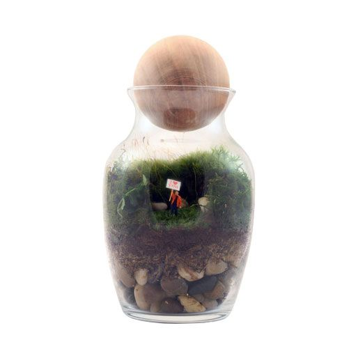 """There is a little person inside this terrarium holding a sign that says """"I Love You."""" Awesome, unique gift! :: Daily Reminder Terrarium"""