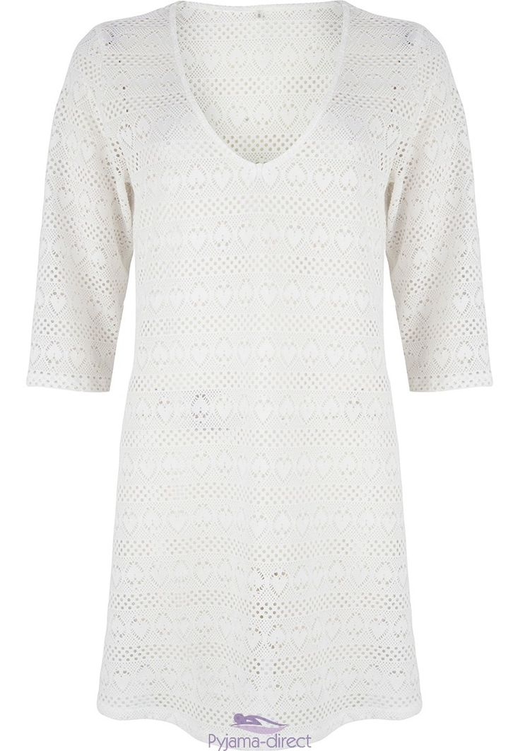 "Be stylish by the pool or on the beach in this ""crochet hearts"" white mesh, 3/4 sleeve pull-on beach cover-up"