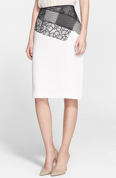 Nina Ricci Contrast Flounce Pencil Skirt | Nordstrom