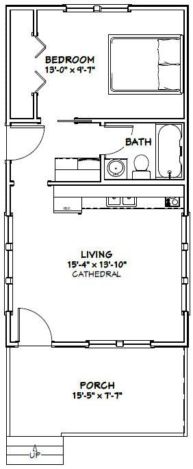 16x30 Tiny House -- #16X30H2 -- 480 sq ft - Excellent Floor Plans