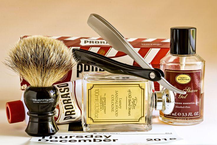 Proraso sandalwood shave cream, Truefitt & Hill badger brush, Kai foldiong straight razor, The Art of Shaving sandalwood aftershave gel, Taylor of Old Bond Street sandalwood cologne, December 17, 2015.  ©Sarimento1