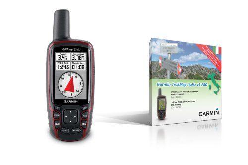 Garmin GPSMAP 62stc – GPS portátil (pantalla de 2,6″, altímetro barométrico, brújula electrónica, cámara de 5 Mpx, mapa topográfico de Europa, incluye mapa TrekMap Italia V3 PRO), color negro y rojo (importado)  #GPS