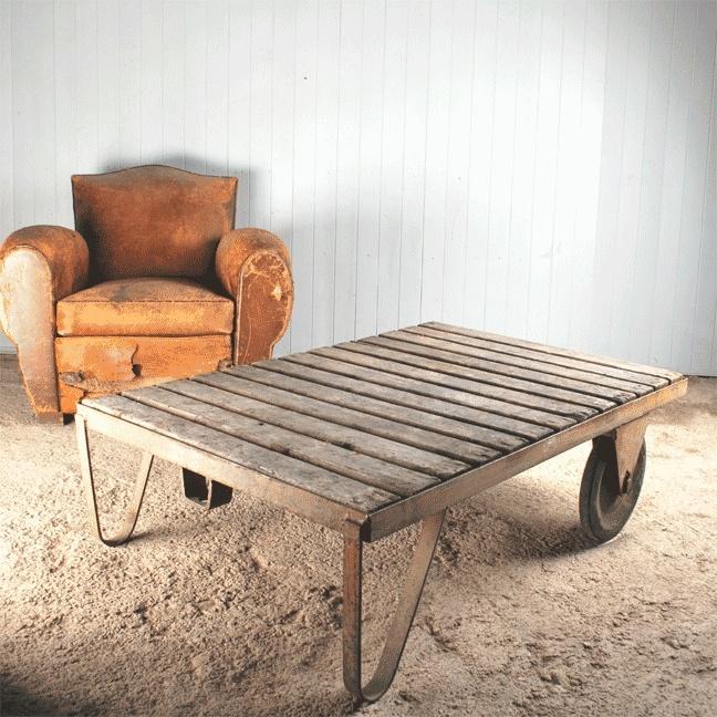 Large Industrial Trolley / Coffee Table   Vintage Industrial Furniture    Original House