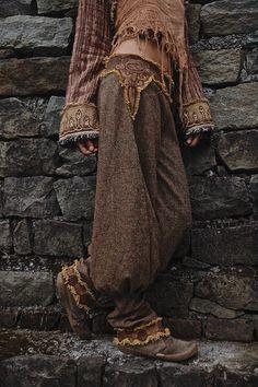Wolle Frauen Hose Hose mit Maya Azteken Stickerei