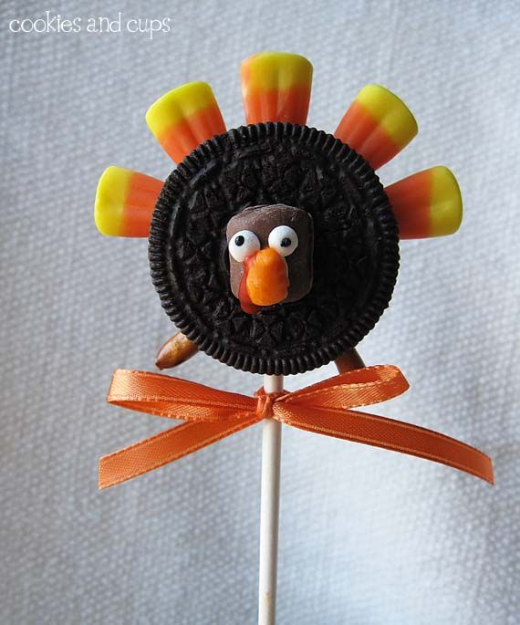 oreo turkey on a stick - this would be cute as favors or for kids school party - wrap in clear cellophane and then tied with the ribbon used.   Or you can omit the stick and serve on a platter