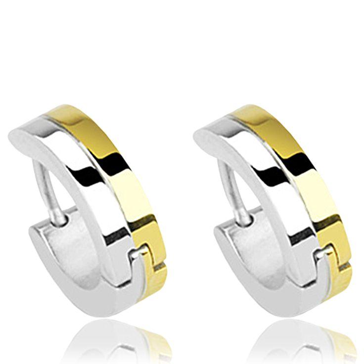 Boucles d'oreilles anneaux bicolores - Bijoux Spikes pour homme