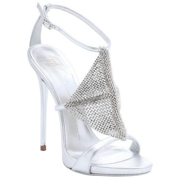 Giuseppe Zanotti Silver leather crystal detail 'Coline' sandals ($556) ❤ liked on Polyvore featuring shoes, sandals, heels, silver, ankle strap sandals, ankle wrap sandals, high heels stilettos, giuseppe zanotti sandals and metallic sandals