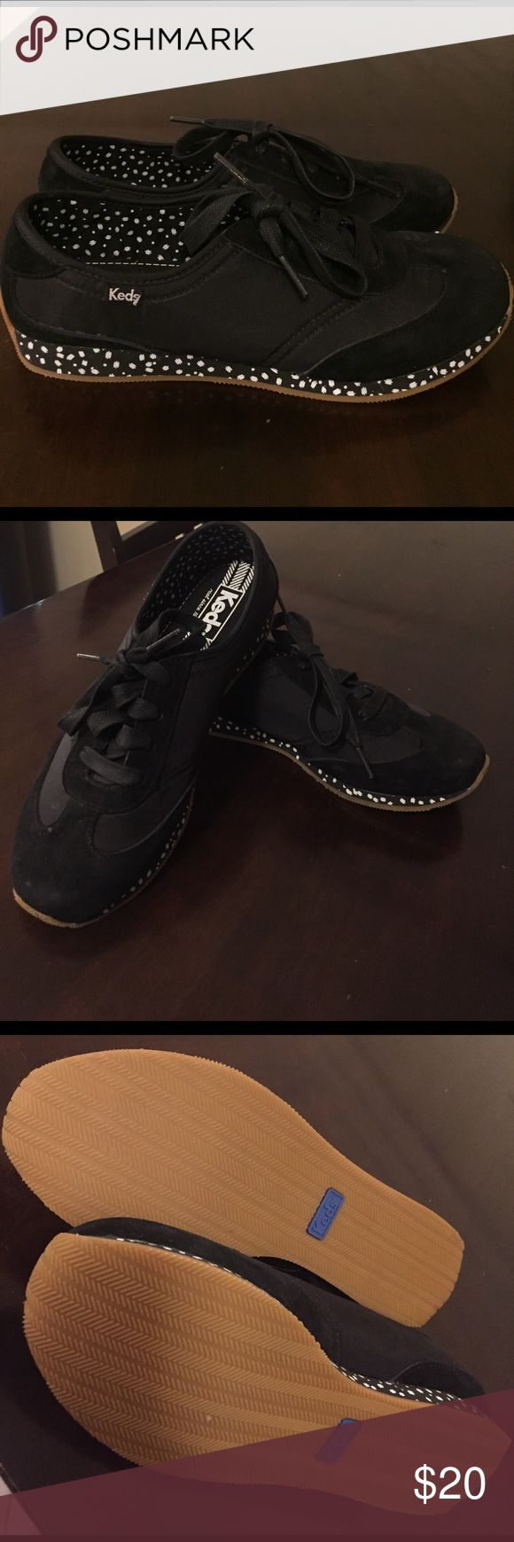 Black KEDS comfortable sneakers size 6 New without tags black KEDS sneakers size 6 woman's sole black/white pattern super comfy and cute for casual days Keds Shoes Sneakers