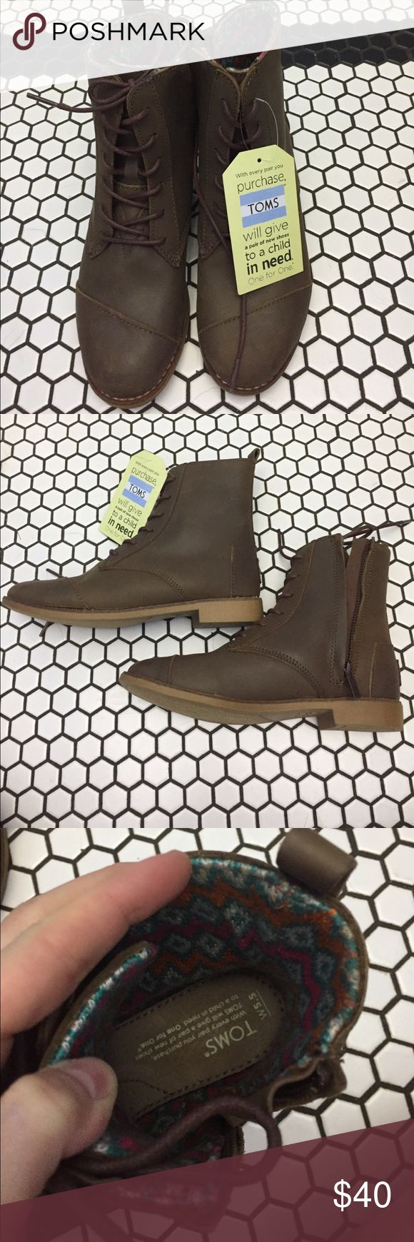 Toms apla boot Brown, waterproof, inside zip closure. Toms Shoes Ankle Boots & Booties