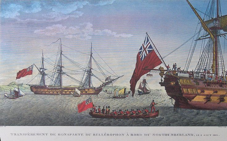 """Transport of Napoleon from the Bellerophon to the Northumberland"" colored litho by Antoine Charles Horace Vernet (called Carle Vernet)(1758 - 1836) and Jacques François Swebach (1769-1823)"