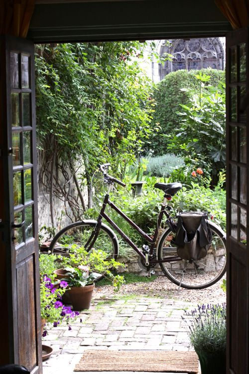 Cooking Class with Susan Loomis. The view out to her garden. Charming Bike.