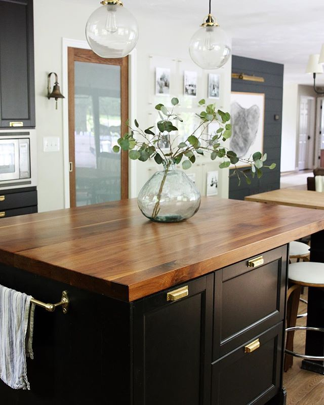 Chrislovesjulia We Get So Many Questions About Our Butcher Block Island Countertop And They Island Countertops Butcher Block Island Kitchen Wooden Countertops
