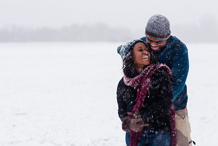 Such an adorable winter engagement announcement picture.
