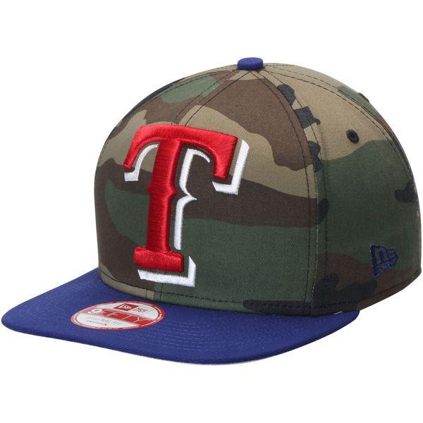 Texas Rangers New Era Woodland Logo Grand Redux Original Fit 9FIFTY Adjustable Hat - Camo/Royal - $27.99