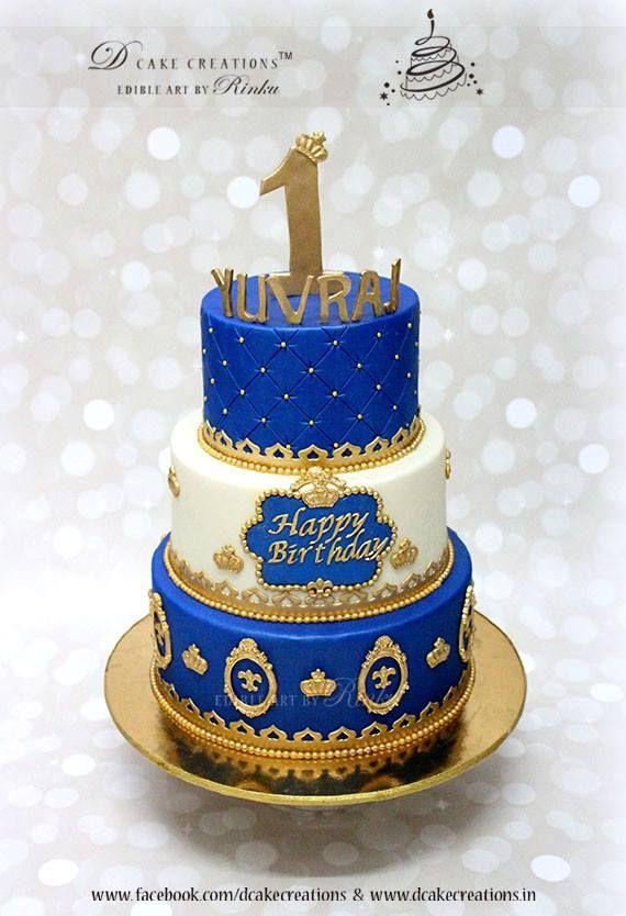 Royal Blue Prince Theme Birthday Cake