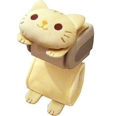 Suporte De Papel Higiênico Gato Rolo Tigre Preto Capa de armazenamento Branca Kitty Kawaii Japão