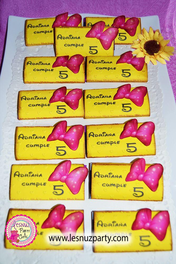 Chocolatinas temáticas personalizadas cumpleaños Minnie Mouse - Minnie Mouse birthday themed