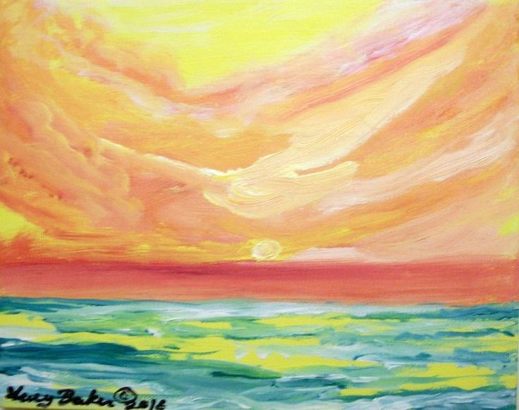 """""""Pastel Sunset"""" by Lucy Baker ,original painting on canvas,8""""x10"""" ,2016 #Impressionism"""
