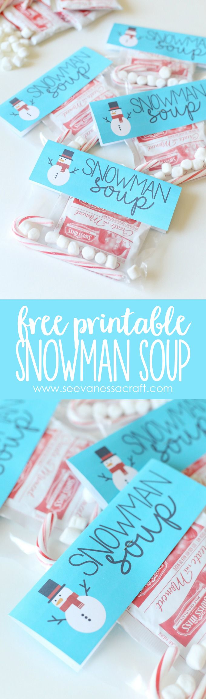 Free Printable Snowman Soup Bag Topper Printable - fun gift idea for friends, neighbors or teachers!