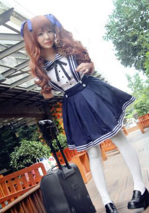 """Japanese kawaii sailor straps skirt+shirt two-piece in navy or black - Use code """"battytheragdoll"""" for 10% off!"""