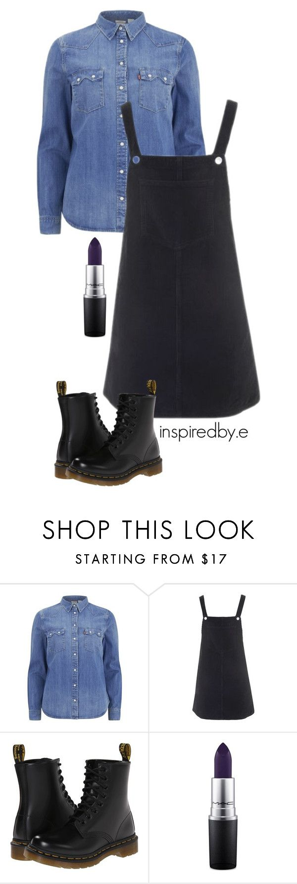 """I really like you"" by emmakiis on Polyvore featuring Levi's, Topshop, Dr. Martens and MAC Cosmetics"