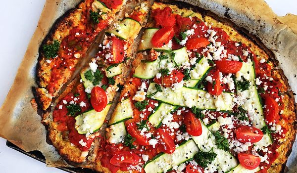 Gluten Free Cauliflower Pizza Crust with Ricotta, Baby Marrows and Tomatoes  #glutenfree #pizza #healthy #recipe