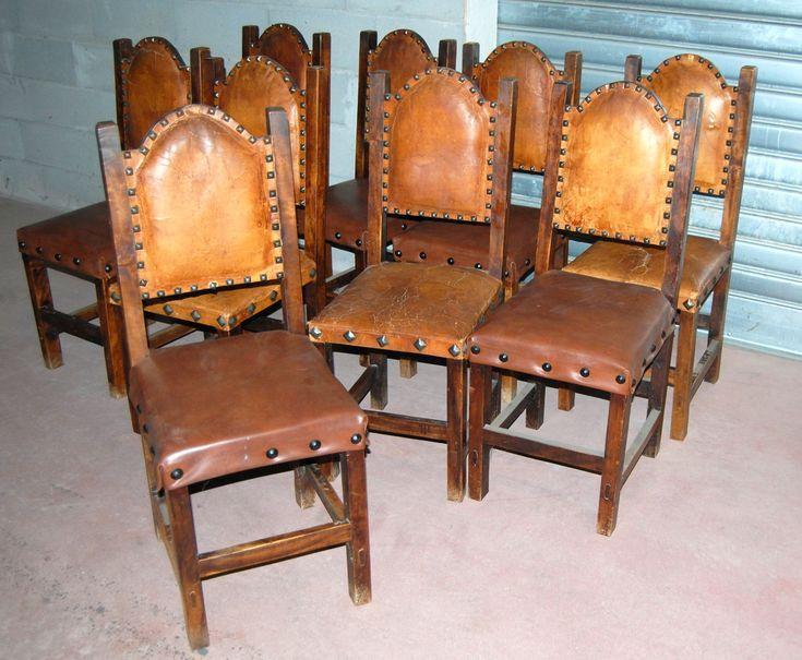 Sedie in rovere massello stile Luigi XIII inizio '900 alcuni rivestimenti in pelle