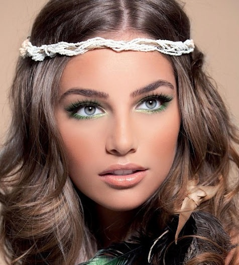 Pretty hair & eye makeup & the hippie headband too! :). TEFTY BALL MAKEUP