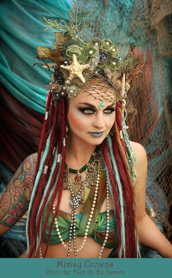 Mermaid crown headpiece headdress Fantasy Sea Witch by MIMSYCROWNS