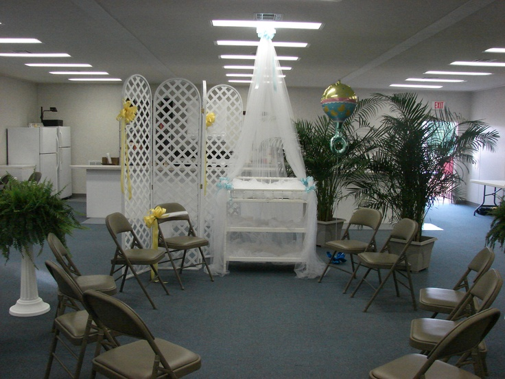 Baby shower decor in church fellowship hall baby shower for Baby shower hall decoration