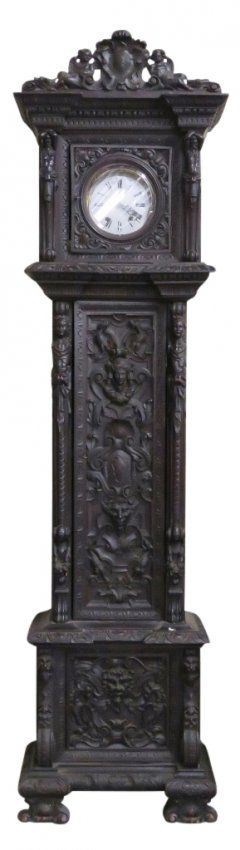 RENAISSANCE STYLE FIGURAL CARVED GRANDFATHER'S CLOCK : Lot 298