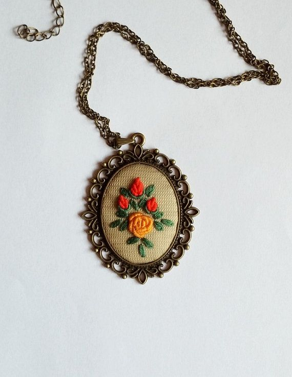 Long Pendant Necklace, Statement Necklace, Unique Handmade Jewelry, Fabric Jewelry, Gift for Her, Vintage Necklace by RedWorkStitches