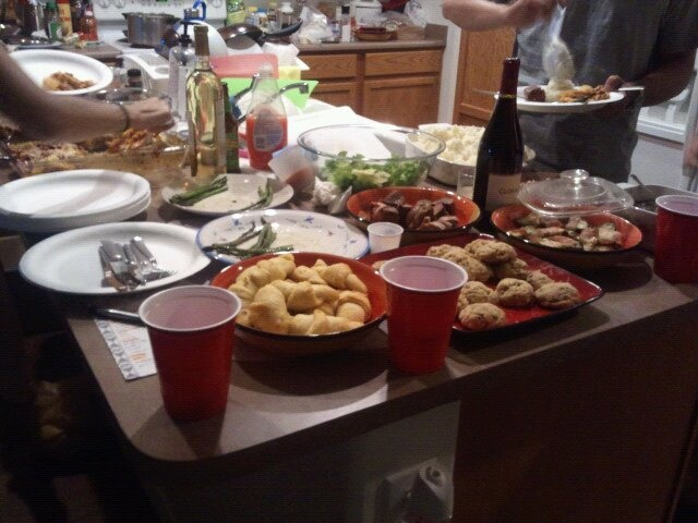 camille notes: i hosted a buffet-style cooking party. bacon wrapped jalapeno poppers crescent rolls bacon wrapped sirloin steaks garlic mashed potatoes lasagna banana bread gluten-free cookies asian salad homemade gravy