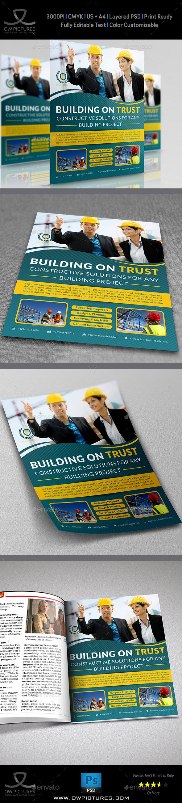 Construction Business Flyer — Photoshop PSD #architect brochure #forwarding • Available here → https://graphicriver.net/item/construction-business-flyer/5194400?ref=pxcr
