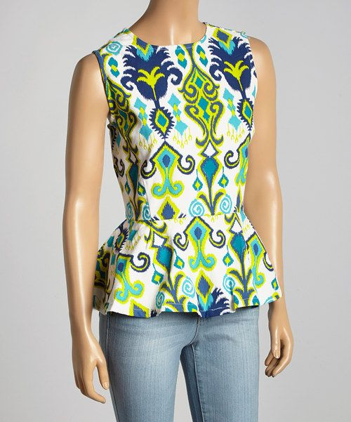 Take a look at the Haute Latitude Navy Ikat Finch Peplum Top on #zulily today!