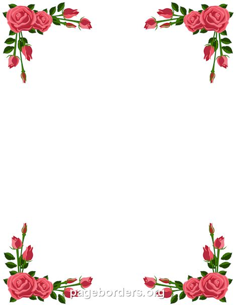 Printable pink rose border. Use the border in Microsoft Word or other programs for creating flyers, invitations, and other printables. Free GIF, JPG, PDF, and PNG downloads at http://pageborders.org/download/pink-rose-border/