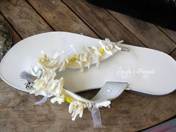 NEW - Daisies - Greek Leather sandals - Flip Flops