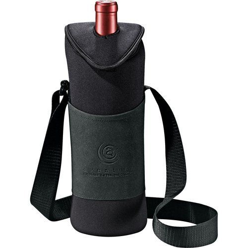 """Uno neoprene wine tote . $8.79. These sleek and classy Uno Neoprene Wine Totes are great for showing your appreciation for your employees and clients alike. Each tote features an insulated beverage compartment with PEVA lining, an adjustable shoulder strap, and holds 1 750ml wine or beverage bottle. These can be decorated with a company's logo to leave a lasting impression for tradeshows, luncheons, presentations, and more. Features and Facts:Every tote measures 12"""" H x..."""
