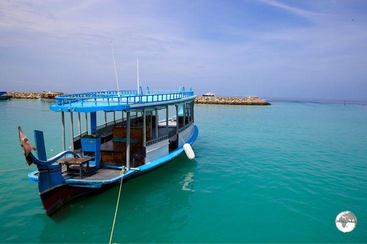 "Traditional ""Dhoni"" on Maafushi Island."