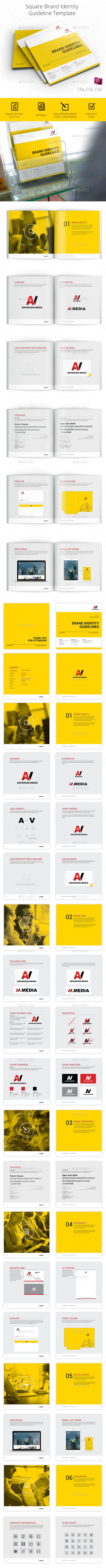 Square Brand Identity Guidelines — InDesign INDD #business proposal #brand • Available here → https://graphicriver.net/item/square-brand-identity-guidelines/16818162?ref=pxcr