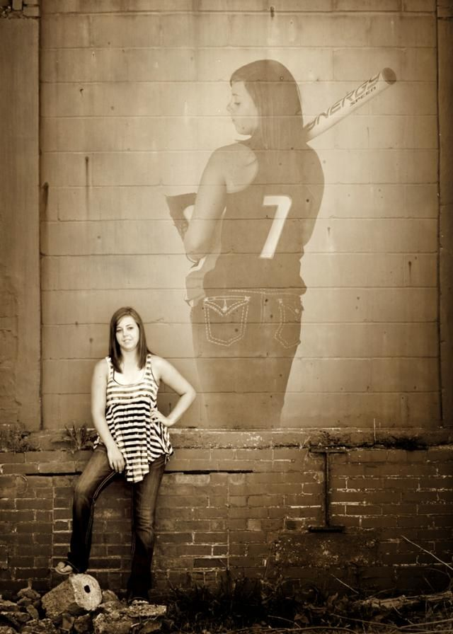 Senior High School girl, softball player. @Andrea / FICTILIS / FICTILIS Adams  -how cool would this be for Alyssa with a dance photo instead of the softball???