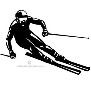 Clip art image of a man on skis.