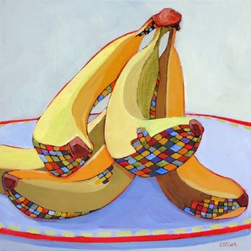 Doing the Splits, contemporary still life painting of bananas, painting by artist Carolee Clark