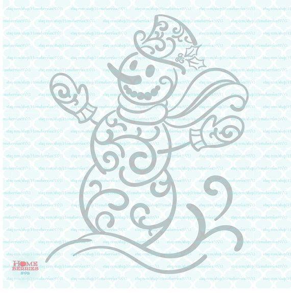 Filigree Snowman Svg Flourish Snowman Svg Swirly Snowman