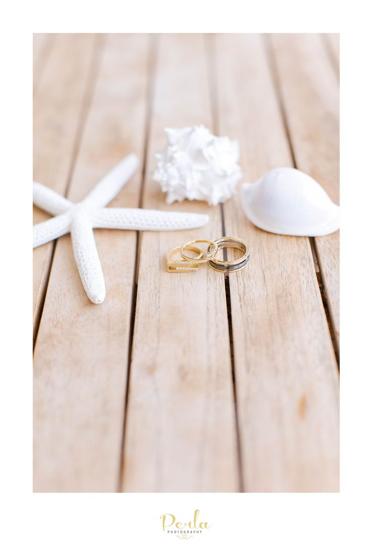 Wedding Rings with shells. Beach coastal wedding at All Smiles  Sorrento Australia