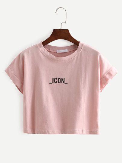 Camiseta letras crop -rosa