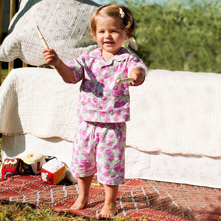 Super cute girls roses woven ctton summer pj's $32.95 (http://www.planetpyjama.com.au/rose-woven-cotton-girls-shortie-pyjamas/)